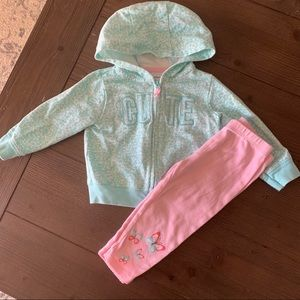 Carter's zip up hoodie with leggings size 12 month